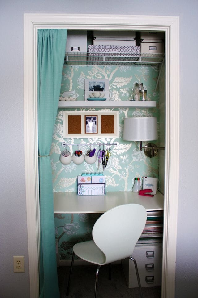 Cut a space out of the closet for a small home office