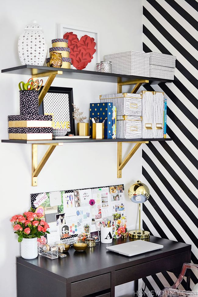 Move your storage up top for a small home office to keep the floor less cluttered