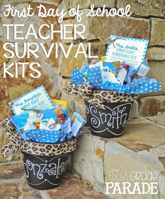 Teacher Survival Kits in Chalkboard Pots