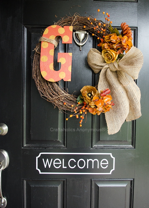 Craftaholics Anonymous DIY Monogram Fall Wreath