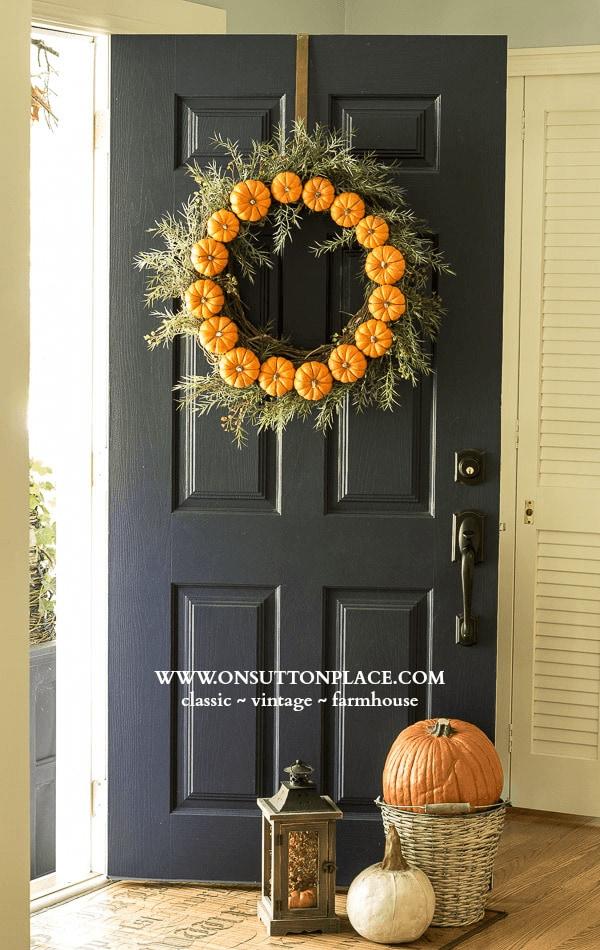 DIY Circle Pumpkin Wreath On Sutton Place