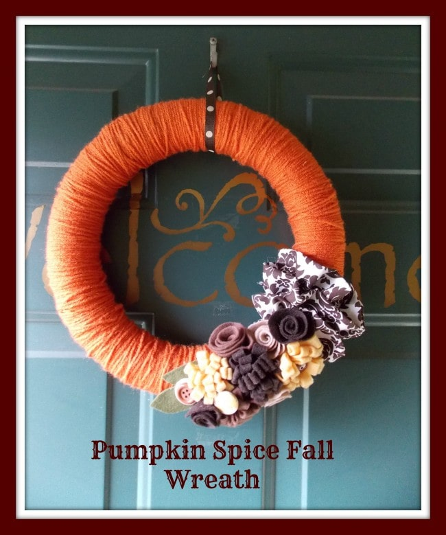 DIY Pumpkin Spice Yarn Wrapped Wreath