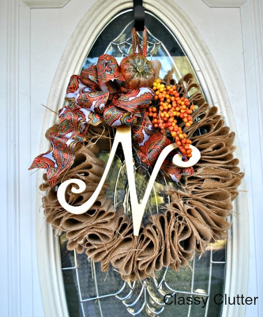 DIY Ruffle Burlap Wreath Classy Clutter