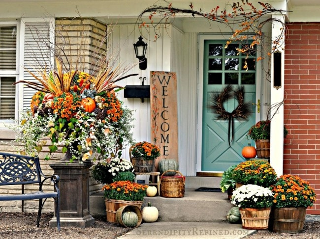 Fall Front Porch Reclaimed Wood Serendipity - Fall front porch ideas with colorful flower arrangements and rustic touches.