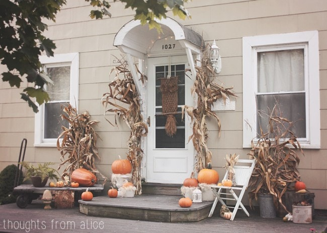 Fall Front Porch Rustic - Fall front porch ideas are subtle and seasonal, with just enough pumpkin to make a statement.