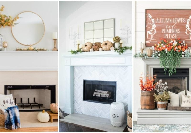 25 of the BEST Fall Mantel ideas to get you inspired for fall decorating! #ABlissfulNest #falldecor #fallideas #falldecorating