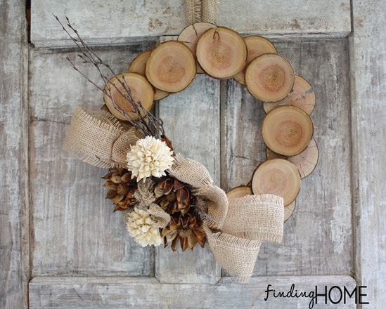 Finding Home Farms Wood and Burlap Fall Wreath