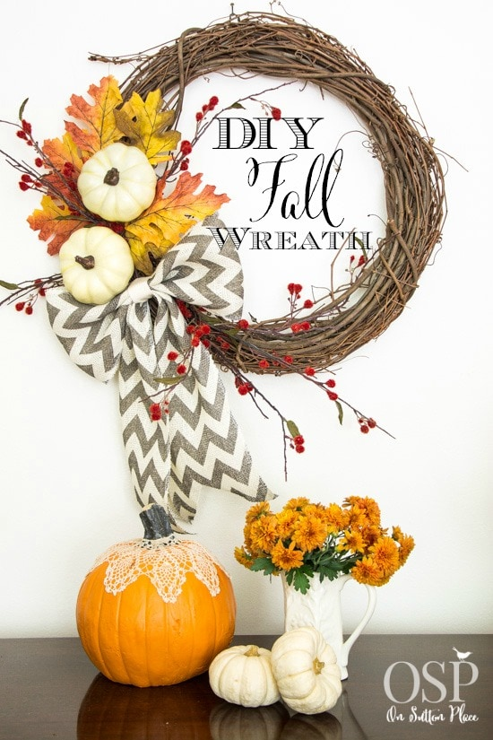 On Sutton Place DIY Chevron Bow Fall Wreath
