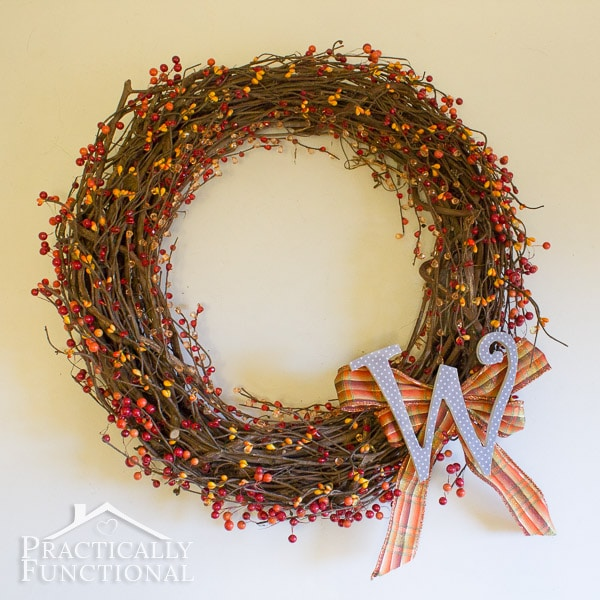 Practically Functional DIY Fall Monogram Wreath