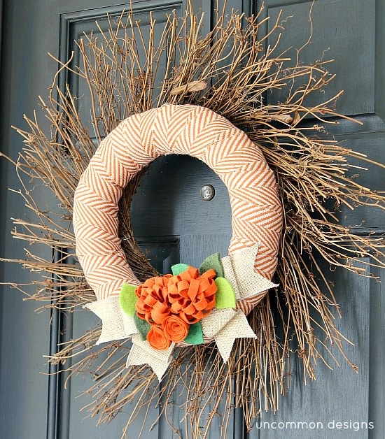 Uncommon Designs Online Fabric and Felt DIY Fall Wreath