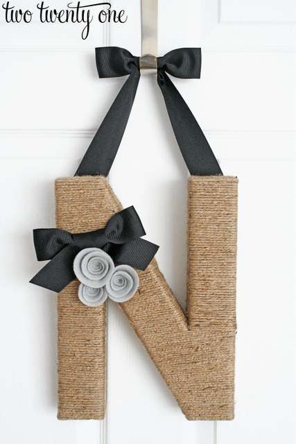 two twenty one DIY Jute Wrapped Monogram Wreath
