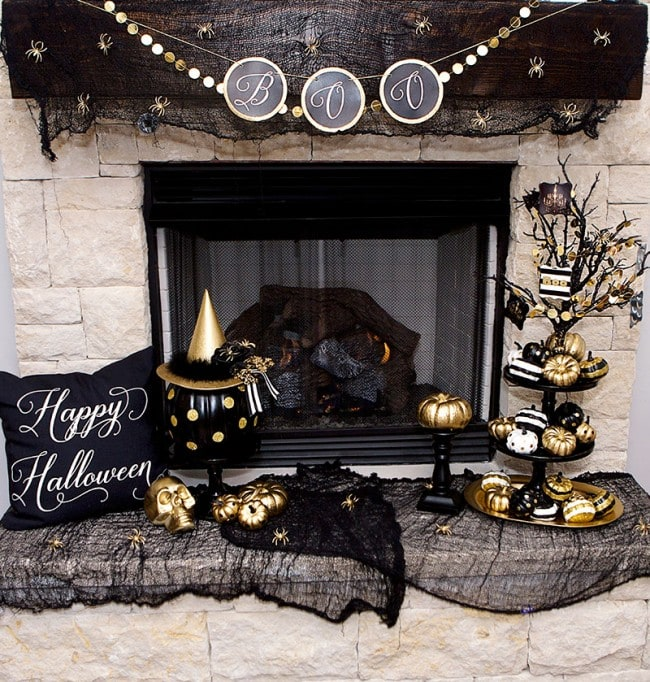 black gold halloween mantel ideas by lillian hope designs - Halloween Mantel Decor