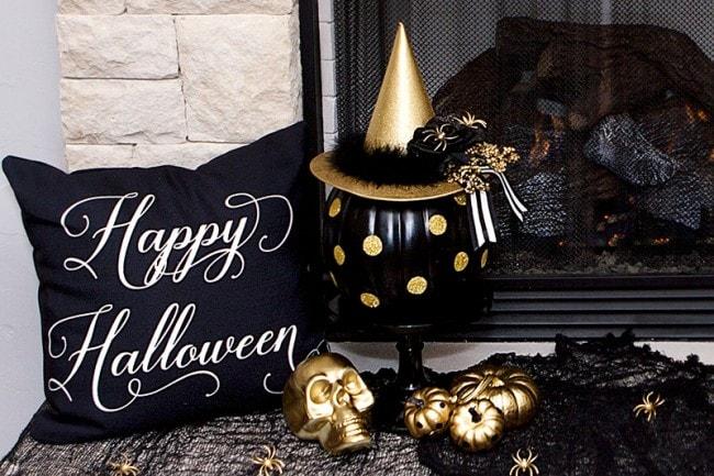black gold halloween mantel ideas by lillian hope designs - Halloween Mantel Decorations