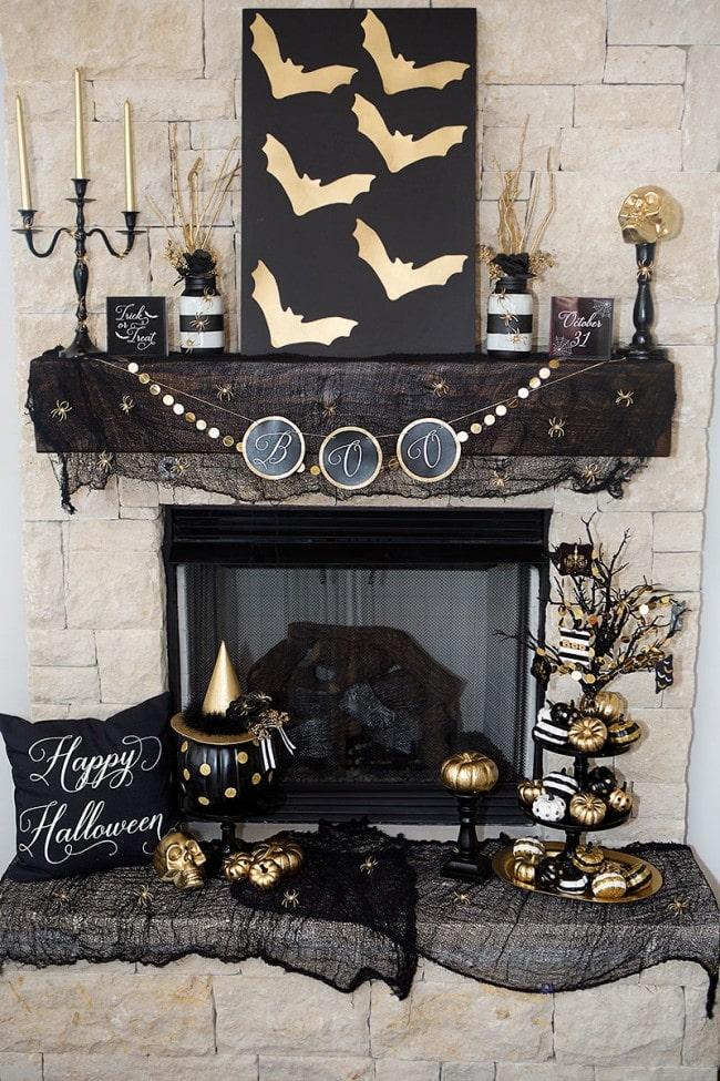 Black & Gold Halloween Mantel Ideas by Lillian Hope Designs