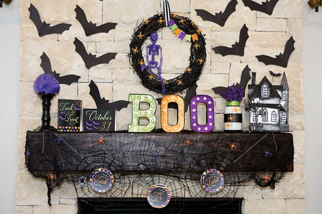 Colorful Halloween Mantel Ideas by Lillian Hope Designs