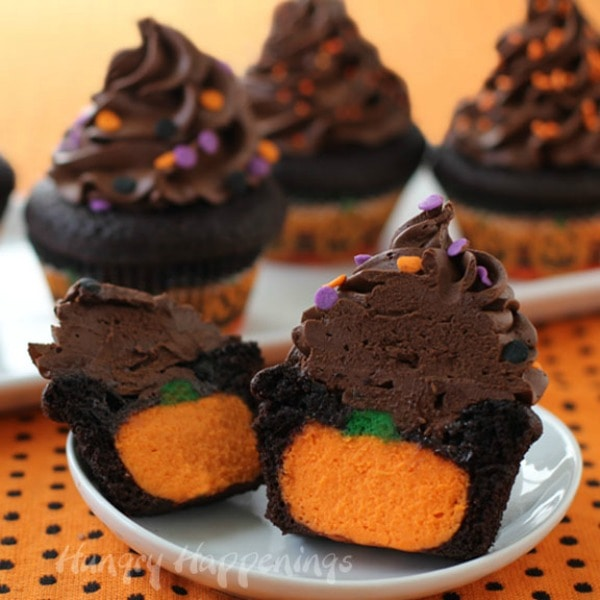 Cheesecake Pumpkin Filled Chocolate Cupcakes
