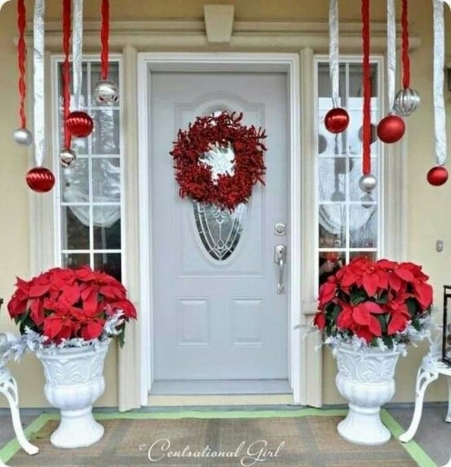 Centsational Girl CHristmas Porch, Hanging Ornaments, Poinsettias, Berry  Wreath - christmas porch ideas