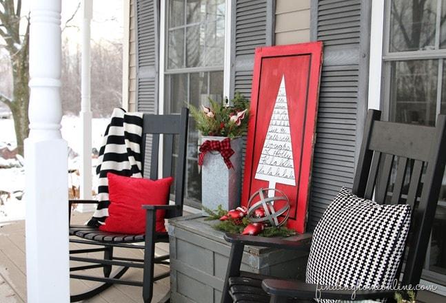 Finding Home Farms Christmas Porch, DIY Sharpie Christmas Tree Art