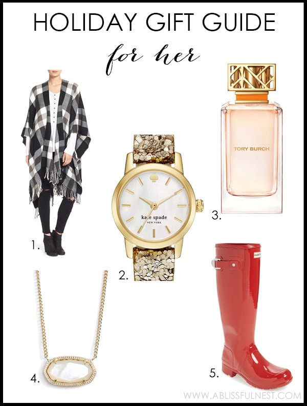 2015 Holiday Gift Guide with the best ideas for shopping for her this year! www.ablissfulnest.com