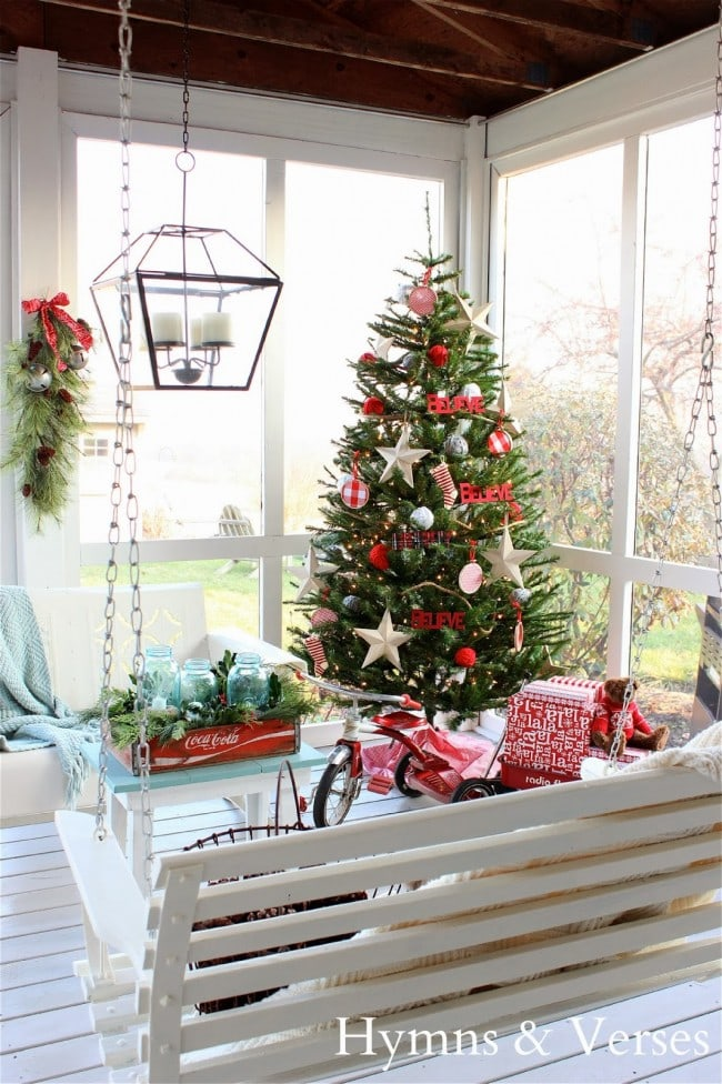 Hymns and Verses Christmas Porch, covered porch, indoor porch - Christmas porch ideas from A Blissful Nest