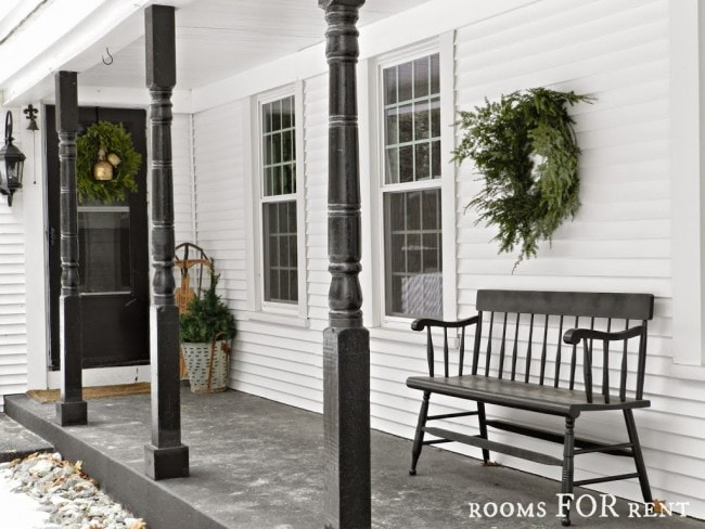 Rooms For Rent Christmas Porch, Simple porch, sleigh - Christmas porch ideas from A Blissful Nest