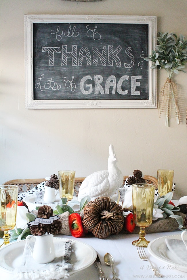 Stylish & Simple Thanksgiving Table Setting by A Blissful Nest
