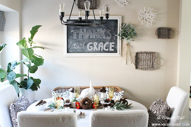 A simple Thanksgiving table setting with lots of tips on recreating this from things in your home.
