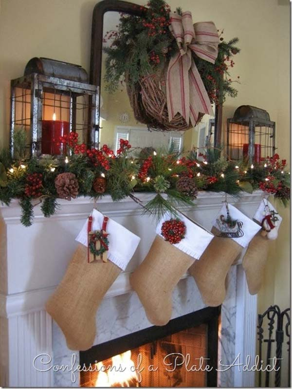 Christmas mantels - rustic accents with pine cones and burlap bows - Christmas Mantel Confessions of a Plate Addict