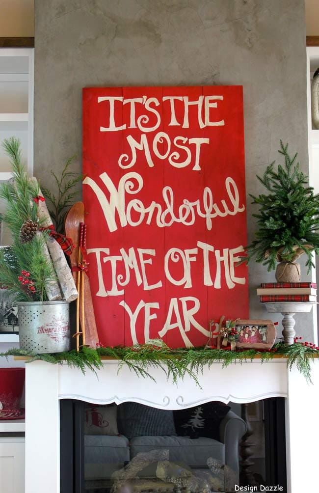 Christmas mantels - simple garland, christmas sign - Christmas Mantel Design Dazzle