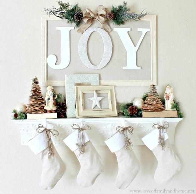 Christmas Mantel Love of Family and Home