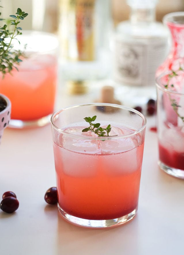 Cranberry Thyme Gin and Tonic Holiday Cocktail