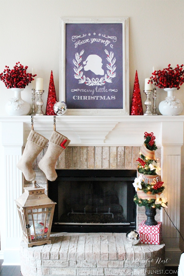 Christmas mantels - holly berries and glitter decorative trees - Our Christmas Mantel A Blissful Nest Last Year