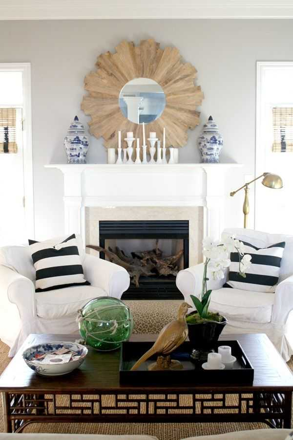 Use a sunburst mirror over a fireplace for a dramatic effect.