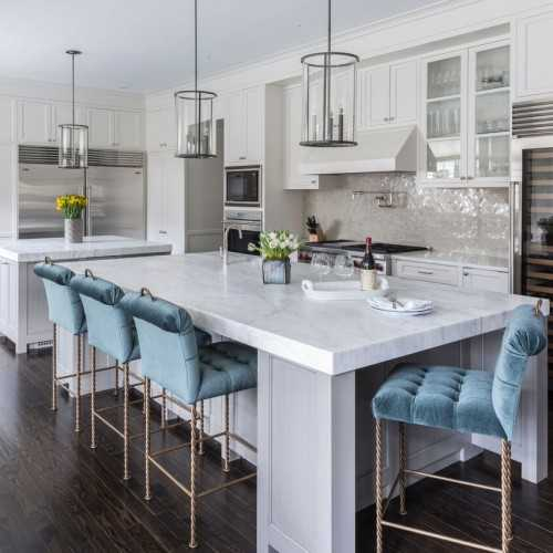 A gorgeous example of using Pantone color of the year serenity in these beautiful barstools.