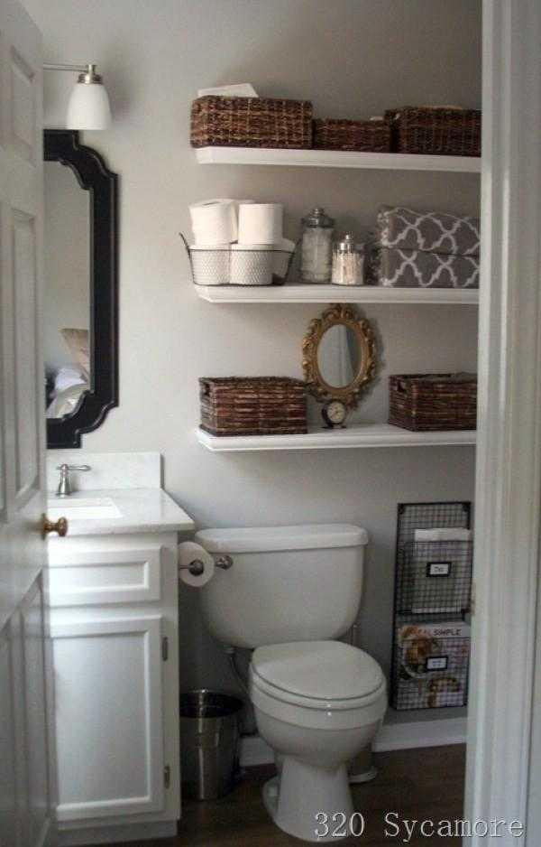 New Floating Shelves and Wire Magazine Rack Bathroom Organization Ideas