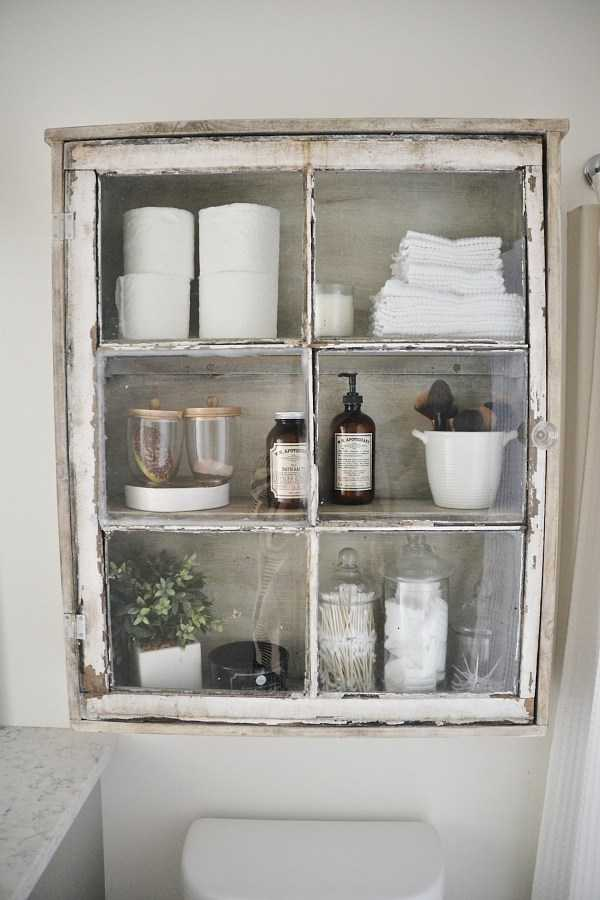 Vintage Window Bathroom Cabinet by Liz Marie Blog