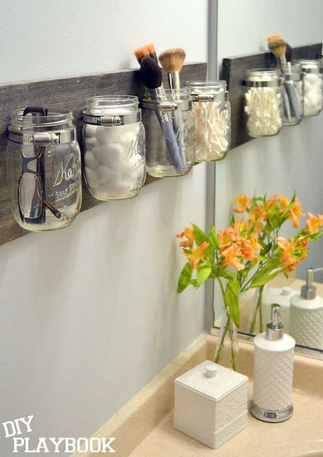 Marvelous Mason Jar Organizers Bathroom Organization Ideas