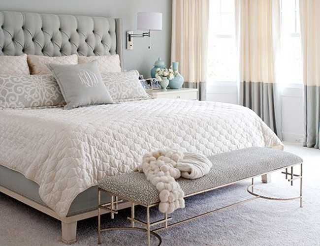 A neutral serene master bedroom for White and neutral bedrooms