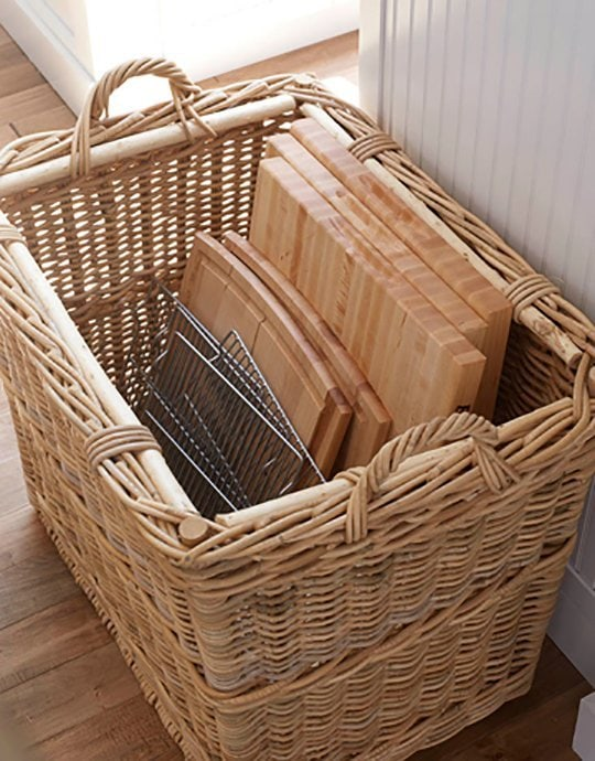 Baking Sheet and Cutting Board Baskets, 25 Kitchen Organization Ideas