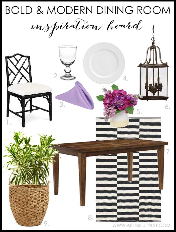 We show you how to get the look of this designer modern dining room in this bold & rustic dining room design.