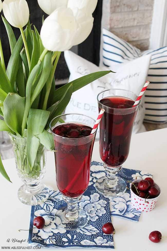 A fun twist to a sangria recipe! Check it out on https://ablissfulnest.com/ #sangria #cocktailrecipe