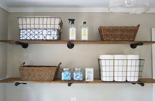 DIY Pipe Shelving, 20 Laundry Room Organization Ideas