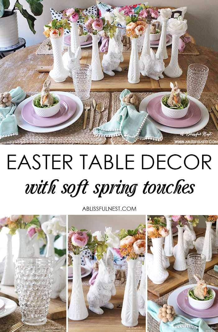 A beautiful and soft Easter table decor setting that is the perfect transition into spring. Soft whites with pops of flowers and pastels makes this Easter table setting perfect for your family! Check out more of this table on ablissfulnest.com