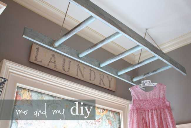 Ladder Laundry Rack, 20 Laundry Room Organization Ideas