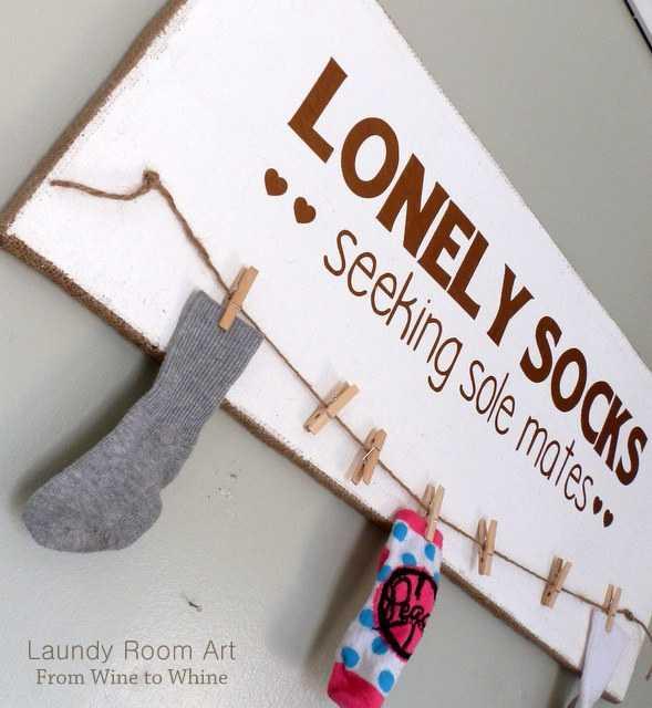 Lonely Socks Art Board, 20 Laundry Room Organization Ideas