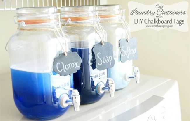 Mason Jar Laundry Containers, 20 Laundry Room Organization Ideas