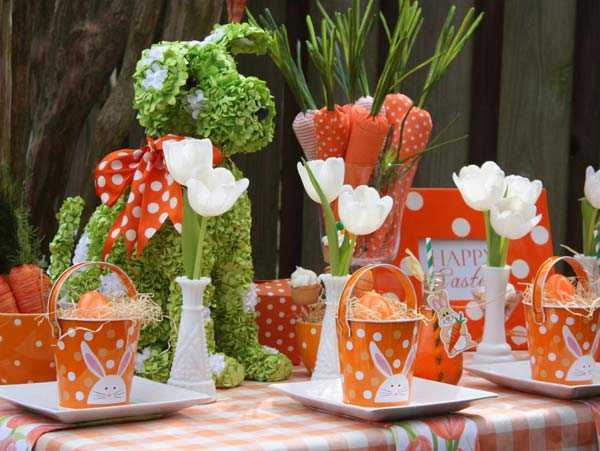 Orange + Green Carrot Easter Table by Pizzazzerie, 10 Easter Table Ideas