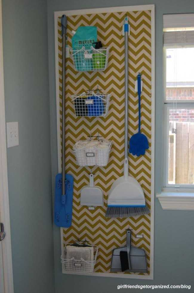 Pegboard Broom 'Closet' System, 20 Laundry Room Organization Ideas