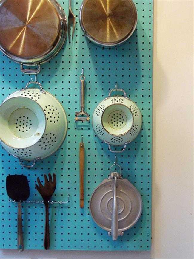 Pegboard Wall Organizer, 25 Kitchen Organization Ideas