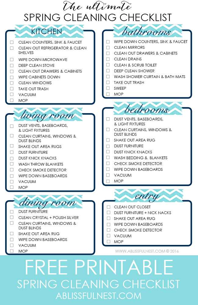 Spring Cleaning Checklist Free Printable – Cleaning Checklist
